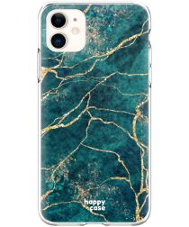 HappyCase Apple iPhone 11 Hoesje Flexibel TPU Aqua Marmer Print