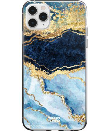 HappyCase iPhone 11 Pro Max Hoesje Flexibel TPU Blauw Marmer Print Hoesjes