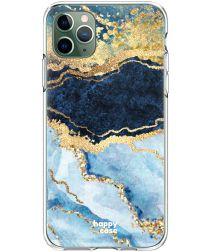 HappyCase iPhone 11 Pro Hoesje Flexibel TPU Blauw Marmer Print