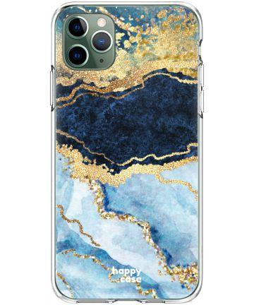 HappyCase iPhone 11 Pro Hoesje Flexibel TPU Blauw Marmer Print Hoesjes