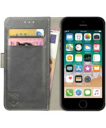 Rosso Element Apple iPhone 5/5S/SE Hoesje Book Cover Grijs Hoesjes