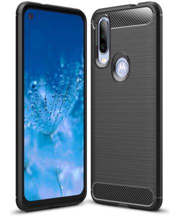 Motorola One Action Geborsteld TPU Hoesje Zwart Hoesjes