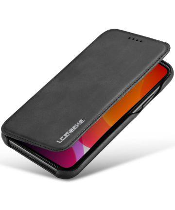 Apple iPhone 11 Retro Portemonnee Bookcase Hoesje Zwart Hoesjes