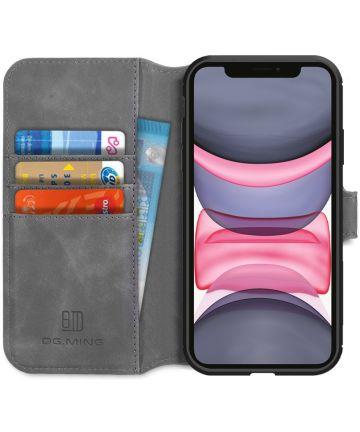DG Ming Retro Portemonnee Apple iPhone 11 Hoesje Grijs Hoesjes