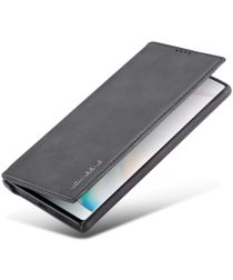 Samsung Galaxy Note 10 Plus Retro Portemonnee Bookcase Hoesje Zwart