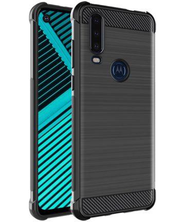 IMAK Vega Series Motorola One Action Hoesje Geborsteld TPU Zwart Hoesjes