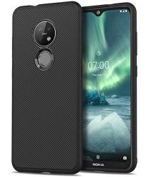 Nokia 6.2 / 7.2 Twill Slim Texture TPU Hoesje Zwart