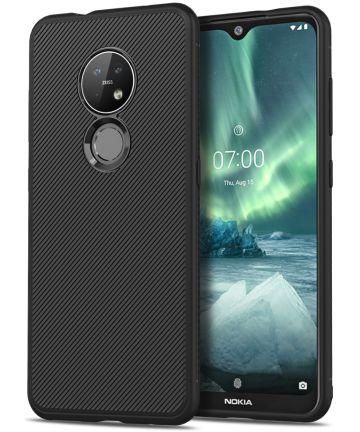 Nokia 6.2 / 7.2 Twill Slim Texture TPU Hoesje Zwart Hoesjes