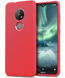 Nokia 6.2 / 7.2 Twill Slim Texture TPU Hoesje Rood
