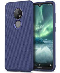 Nokia 6.2 / 7.2 Twill Slim Texture TPU Hoesje Blauw