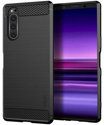 Sony Xperia 5 MOFI Geborsteld TPU Hoesje Zwart Hoesjes