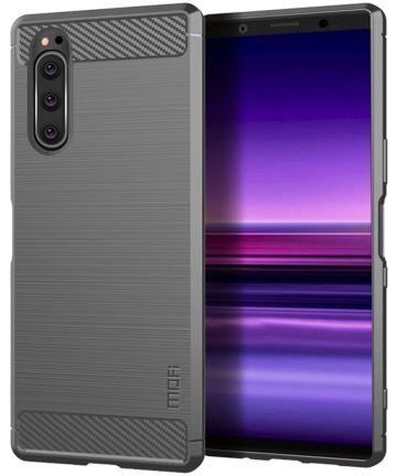 Sony Xperia 5 Geborsteld Carbon TPU Hoesje Grijs Hoesjes