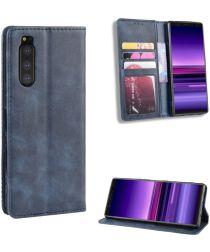 Sony Xperia 5 Retro Portemonnee Hoesje Blauw