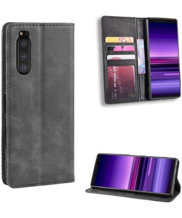 Sony Xperia 5 Retro Portemonnee Hoesje Grijs Hoesjes