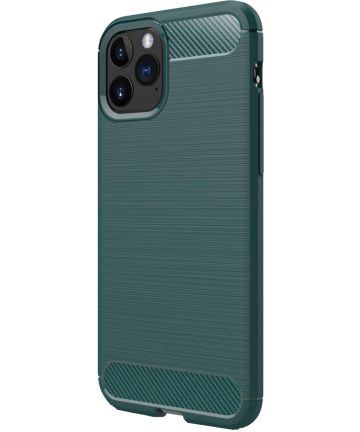 Apple iPhone 11 Pro Max Geborsteld TPU Hoesje Midnight Green Hoesjes