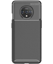 OnePlus 7T Siliconen Carbon Hoesje Zwart