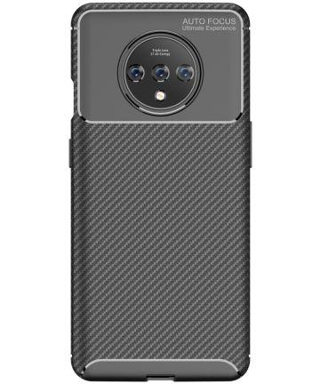 OnePlus 7T Siliconen Carbon Hoesje Zwart Hoesjes