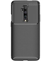 OnePlus 7T Pro Siliconen Carbon Hoesje Zwart