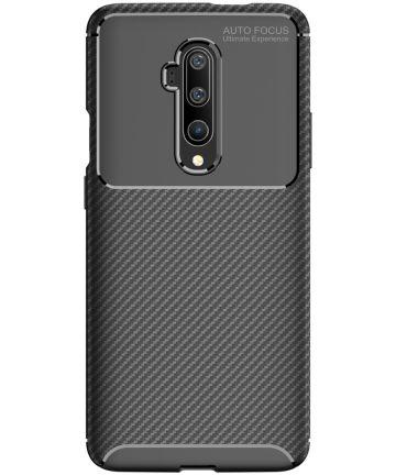 OnePlus 7T Pro Siliconen Carbon Hoesje Zwart Hoesjes