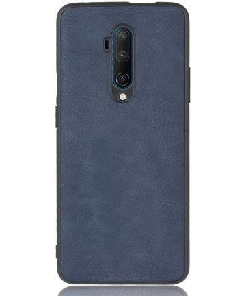 OnePlus 7T Pro Back cover met Lederen Coating Blauw Hoesjes