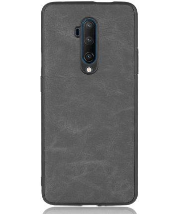 OnePlus 7T Pro Back cover met Lederen Coating Zwart Hoesjes