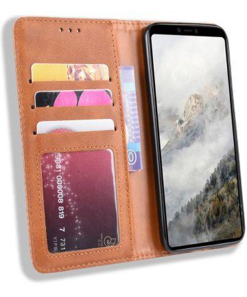 Google Pixel 4 XL Hoesje Retro Wallet Book Case Kunst Leer Bruin Hoesjes