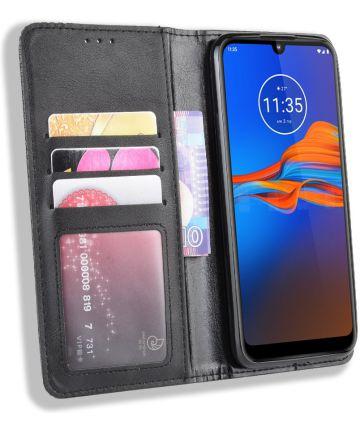Motorola Moto E6S / E6 Plus Vintage Portemonnee Hoesje Zwart Hoesjes