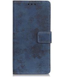 Motorola Moto E6 Plus Retro Portemonnee Hoesje Blauw