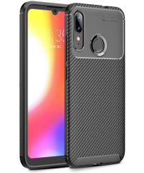 Motorola Moto E6s / E6 Plus Siliconen Carbon Hoesje Zwart