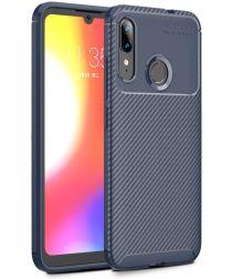 Motorola Moto E6s / E6 Plus Siliconen Carbon Hoesje Blauw