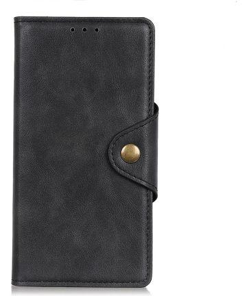 Motorola Moto E6 Plus Vintage Portemonnee Hoesje Drukknoop Zwart Hoesjes