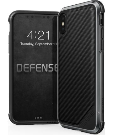Defense Lux Apple iPhone XS / X Hoesje Carbon Fiber Zwart