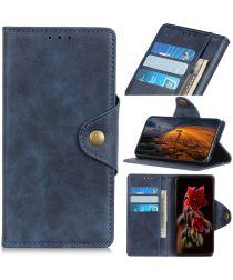 Sony Xperia 5 Vintage Portemonnee Hoesje met Drukknoop Sluiting Blauw