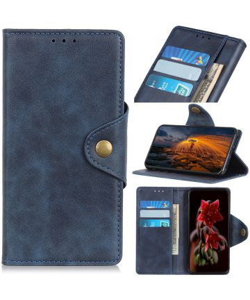 Sony Xperia 5 Vintage Portemonnee Hoesje met Drukknoop Sluiting Blauw Hoesjes