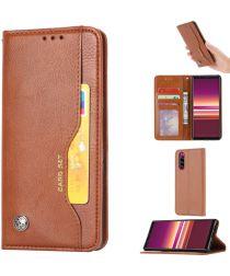 Sony Xperia 5 Stijlvol Luxe Portemonnee Hoesje Bruin