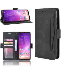 Motorola One Vision Portemonnee Hoesje Met Kaarthouder Zwart