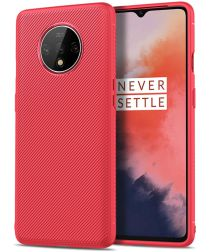 OnePlus 7T Twill Slim Texture Back Cover Rood