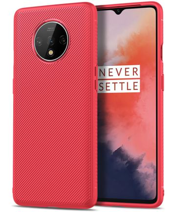 OnePlus 7T Twill Slim Texture Back Cover Rood Hoesjes