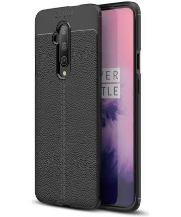 OnePlus 7T Pro Litchi Leren Textuur TPU Hoesje Zwart Hoesjes
