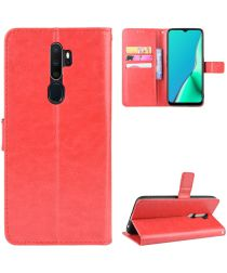 Oppo A5 / A9 (2020) Crazy Horse Portemonnee Hoesje Rood