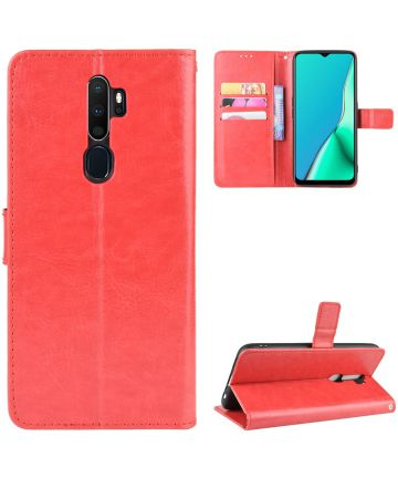 Oppo A5 / A9 (2020) Crazy Horse Portemonnee Hoesje Rood Hoesjes