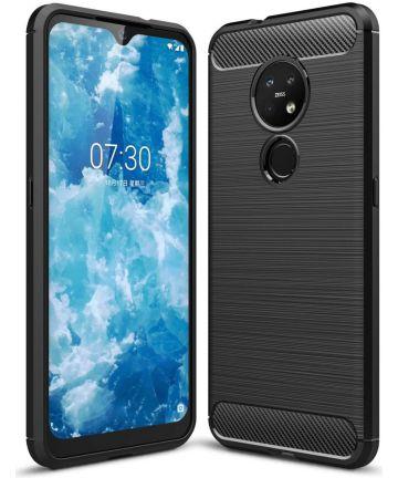 Nokia 6.2 / 7.2 Geborsteld TPU Hoesje Zwart Hoesjes