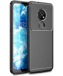 Nokia 7.2 Siliconen Carbon Hoesje Zwart