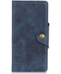 Motorola Moto E6 Plus Vintage Portemonnee Hoesje Drukknoop Blauw