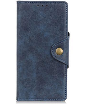 Motorola Moto E6 Plus Vintage Portemonnee Hoesje Drukknoop Blauw Hoesjes