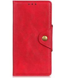 Motorola Moto E6s / E6 Plus Vintage Portemonnee Hoesje Drukknoop Rood
