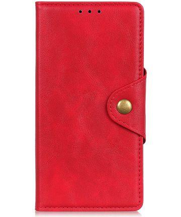 Motorola Moto E6s / E6 Plus Vintage Portemonnee Hoesje Drukknoop Rood Hoesjes