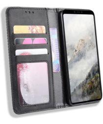 Google Pixel 4 XL Hoesje Retro Wallet Book Case Kunst Leer Zwart