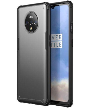 OnePlus 7T Slim Fit Hybride Hoesje Transparant/Zwart Hoesjes