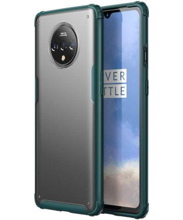 OnePlus 7T Slim Fit Hybride Hoesje Transparant/Midnight Green Hoesjes